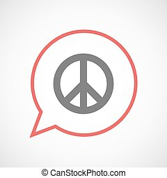Isolated comic balloon with a peace sign - Illustration of...