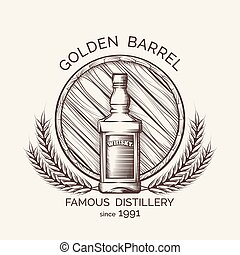 Whisky distillery emblem Vector whisky production logo...