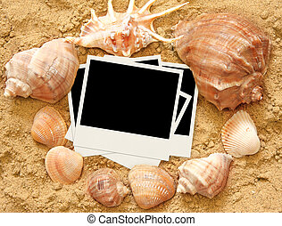 Vacations background - shells and photos on sand