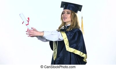 Graduate celebrates the end of the college in kissing her...