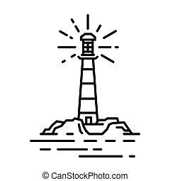 Vector black line lighthouse sign