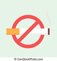 Vector flat no smoking icon - Flat no smoking icon Vector...
