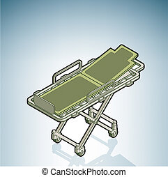 Stretcher part of the Hospital Hardware Isometric 3D Icons...