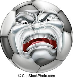 Angry Soccer Football Ball Sports Cartoon Mascot - An angry...