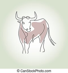 Bull in a minimal line style vector