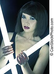 Beautiful Chinese Asian Woman Girl in Night Club