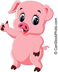 Cute pig cartoon posing - illustration of Cute pig cartoon...