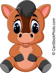 Cute cartoon brown horse - illustration of Cute cartoon...
