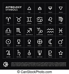 Vector Astrology Signs of the zodiac Planet the Solar system...