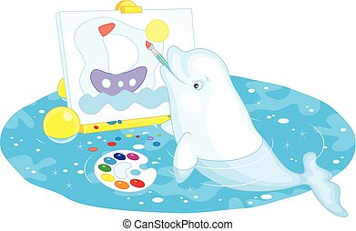 Beluga whale painter - Vector illustration of a white beluga...