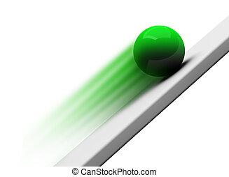 Green chrome ball rolling upwards 3d render