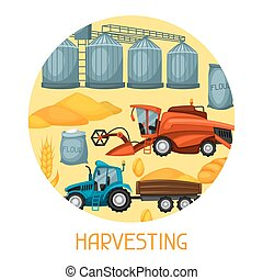 Harvesting background. Combine harvester, tractor and granary. Agricultural illustration farm rural landscape
