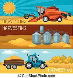 Set of harvesting banners. Combine harvester, tractor and granary. Agricultural illustration farm rural landscape