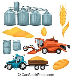 Agricultural set of harvesting items. Combine harvester, tractor and granary