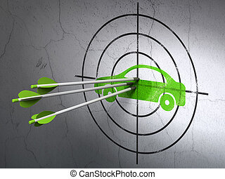 Travel concept: arrows in Car target on wall background
