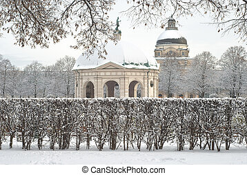 Winter Scene of the Hofgarden in Munich Germany