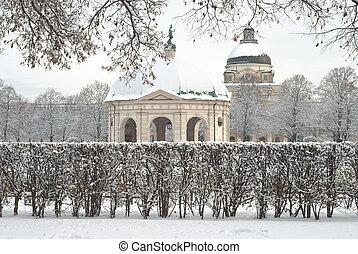 Winter Scene of the Hofgarden in Munich Germany
