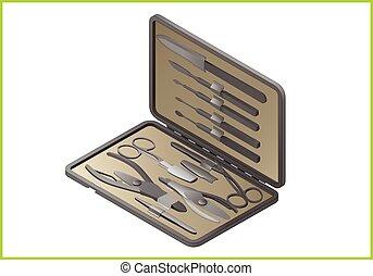 nail care isometric flat icon - manicure set isometric flat...