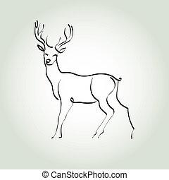 Deer in a minimal line style