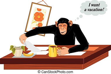 Chimpanzee sitting at office table Vector illustration