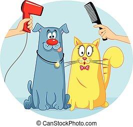 Cat and Dog at Pet Salon Vector Cartoon