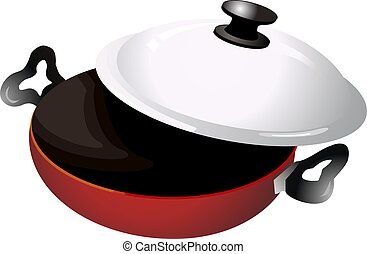 Frying pan - Illustration of a red frying pan in white...