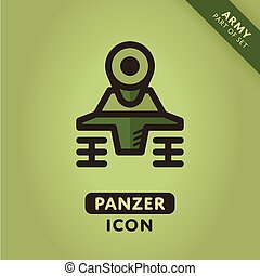 Vector Tank icon - Vector tank icon. Military Panzer sign....