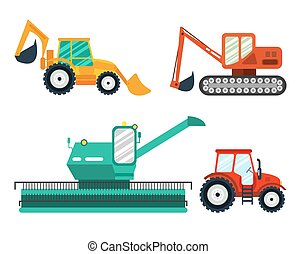 Excavators, tractor, combine on white background. Agricultural vehicle, farm machine.