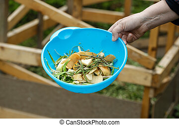 Organic kitchen waste gathered for composting