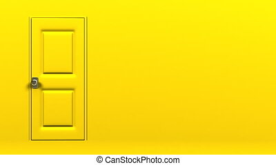 Yellow Door With Text Space And Wall. Abstract 3DCG render...