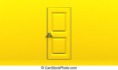 Yellow Door And Wall. Abstract 3DCG render Animation.