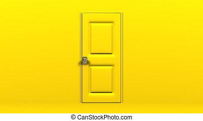 Yellow Door And Dark Room Abstract 3DCG render Animation