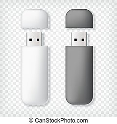 Two usb memory sticks mockup, in black and white