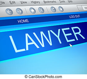 Lawyer online concept - Illustration depicting a computer...