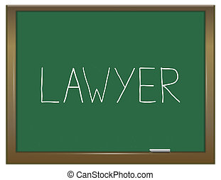 Lawyer word concept - Illustration depicting a green...