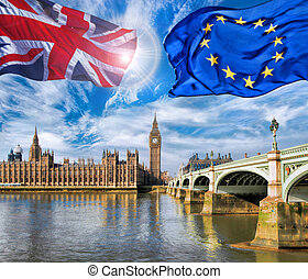 European Union and British Union flag flying against Big Ben...