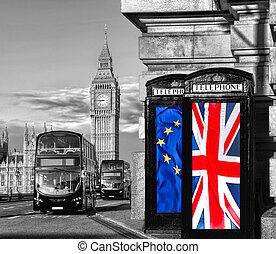 European Union and British Union flag on phone booths...