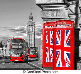British Union flags on phone booths against Big Ben in...