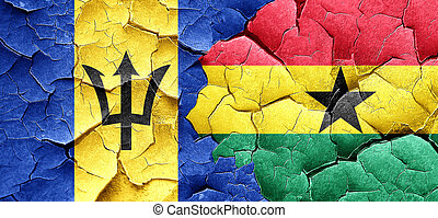 Barbados flag with Ghana flag on a grunge cracked wall