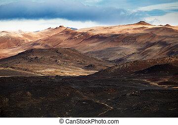 Myvatn landscape. Hills, desert. Autumn Iceland