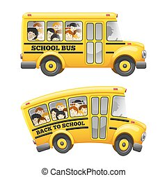 School bus - Cute cartoon school bus with cheerful pupils...
