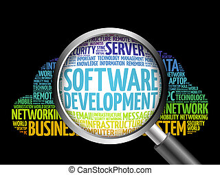Software development word cloud with magnifying glass,...