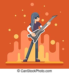 Electric Guitar Icon Guitarist Hard Rock Heavy Folk Music Background Concept Flat Design Vector Illustration