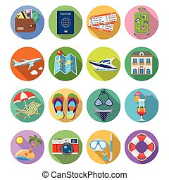Vacation and Tourism Flat Icons Set with Long Shadow on...