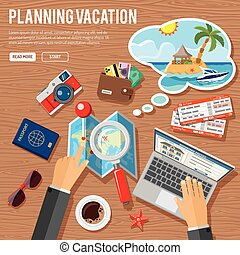 Planning Vacation Concept and Tourism Infographics with Flat...