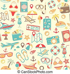 Vacation and Tourism Seamless Pattern with Flat Icon Set for...