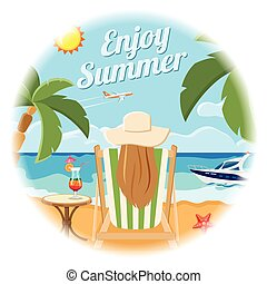Vacation and Summer Card Concept - Vacation, Tourism and...