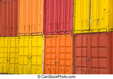 cargo container - many colorful stacked cargo containers