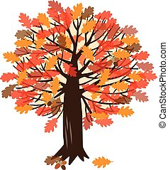 Vector illustration with oak tree - Vector illustration with...