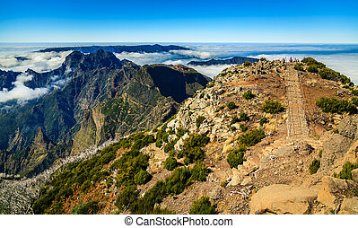 trekking path at the top pf the peak Pico Ruivo - trekking...